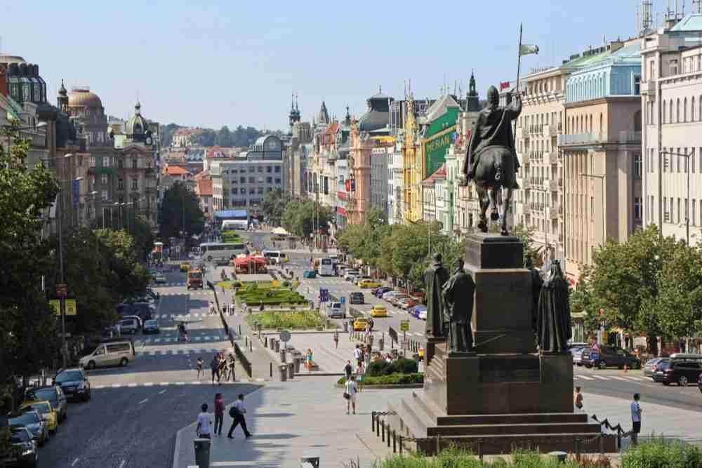 Der Wenzelsplatz in Prague